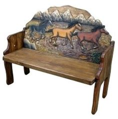 Wood Bench Seat Entryway Solid Rustic Foyer Horse Primitive Garden Hand Carved #BlueRibbonProducts