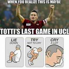 Kiedy zdasz sobie sprawę, że Francesco Totti już nie zagra w Lidze Mistrzów • Smutny moment w historii futbolu • Wejdź i zobacz >> #football #soccer #sports #pilkanozna