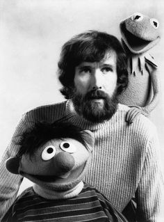 Jim Henson with Kermit and Ernie.