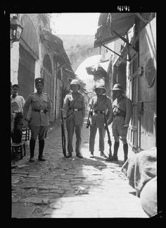 Palestine events. The 1929 riots, August 23 to 31. Squad of British volunteer police on David Street in Old City