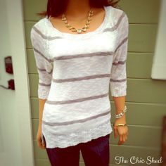 Charming Charlie Gray and White Striped Sweater So soft and cute! Great spring sweater! Lower in the back. Like new! The Chic Shed; A Current and Classic Fashion Curation.  10% OFF BUNDLES I ❤️ THE OFFER BUTTON ❌NO PP, TRADES, HOLDS❌  15% OFF RETURN BUYER BUNDLES Charming Charlie Sweaters