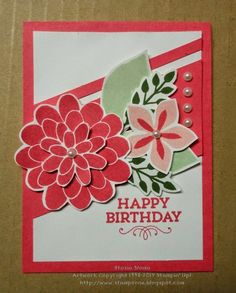 Flower Patch Stampin' Up!. Blushing Bride, Strawberry Slush, Mossy Meadow, Pistachio Pudding. by Stasia Sloma Stampin & Scrappin' with Stasia for Inkredible color challenge.