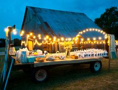 What a great idea to light up the buffet area of this barnyard party! Shop string light kits for quick, easy shopping at http://www.partylights.com/String-Lights-Sets.