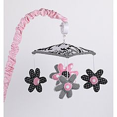 @Overstock - The Girly musical mobile from Cotton Tale has fun dancing flowers in black, white and pink. The sweet mobile winds up to play Brahms Lullaby. http://www.overstock.com/Baby/Cotton-Tale-Girly-Mobile/6661295/product.html?CID=214117 $44.99