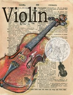 Violin mixed media drawing on tiny 1890's dictionary page - flying shoes art studio