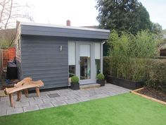 Dark grey Cedral Weatherboard is very popular with our Executive Garden Rooms clients. Garden Huts, Garden Cabins, Small Garden Lodge, Backyard Studio, Garden Studio, Cedral Weatherboard, Scandi Garden, House Cladding, Wood Cladding