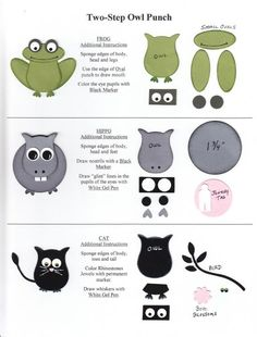Frog, Hippo, Cat Punch Art using Stampin Up Owl Punch Owl Punch Cards, Paper Punch Art, Owl Card, Craft Punches, Animal Cards, Card Tutorials, Kids Cards, Cute Cards, Scrapbook Cards