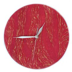Red WALL CLOCK, UNIQUE wall clock, art wall clock, red home decor ,... (14.375 HUF) ❤ liked on Polyvore featuring home, home decor, clocks, filler, battery powered wall clock, handmade home decor, battery powered clock, hand clock and gold wall clock