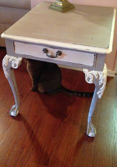 Chalk Painted And Distressed Shabby Claw Foot Table In Grey And Cream