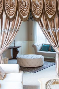 Embroidery Faux Silk - Champagne Tab Top Swag Style Swag Valance Curtain Set Beautiful embroidery in the middle and at the bottom of champagne color panels http://www.celuce.com/p/460/champagne-embroidery-faux-silk-tab-top-swag-style