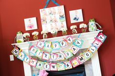 Happy Birthday Banner #owlparty #1stbirthday #twinparty #birthdaybanner #genderneutral