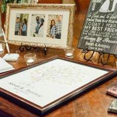 Personalized guest sign in table where guests were asked to stamp their thumbprint on the branch of a tree | Leslie Ann Photography | villasiena.cc