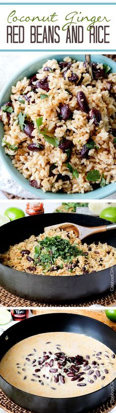 Coconut Ginger Red Beans and Rice swirled with cilantro and lime with only one minute more cook time than boring white rice. Coconut Ginger Red Beans and Rice swirled with cilantro and lime with only one minute more cook time than boring white rice. Vegetarian Recipes, Cooking Recipes, Healthy Recipes, Detox Recipes, Plat Vegan, Carlsbad Cravings, Gula, Comida Latina, White Rice