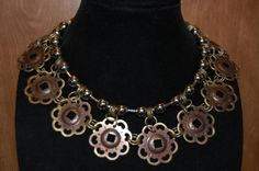 Upcycled Drawer Pull Pieces - Beautiful Statement Necklace by Menono Designs