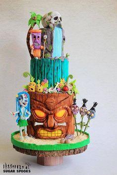 Cake Wrecks – Home – Sunday Sweets Celebrates Tiki Tiki Tiki Cakes! Tiki Party, Luau Party, Luau Theme, Beautiful Cakes, Amazing Cakes, Camping Birthday Cake, Hawaii Cake, Aloha Cake, Hawaii Hawaii