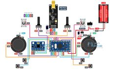 DIY Arduino based RC Transmitter Circuit Diagram in 2019 Nrf24l01 Arduino, Arduino Radio, Arduino Controller, Arduino Motor, Circuit Diagram, Electric Circuit, Arduino Circuit, Diy Electronics, Arduino Projects