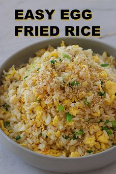 5 Minutes EASY Egg Fried Rice Recipe & Video – Seonkyoung Longest – Famous Last Words Healthy Rice Recipes, Vegetarian Recipes, Cooking Recipes, Vegetarian Fried Rice, Main Meal Recipes, Easy Yummy Recipes, Easy Recipes For One, Recipes With Rice, Yummy Dinner Recipes