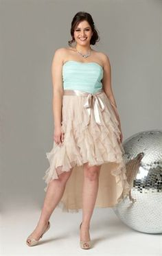 Deb Shops Plus Size Short #Prom #Dress with Two Tone High Low Tendril Skirt