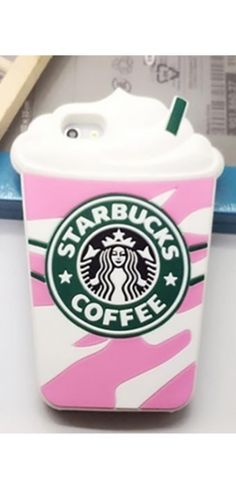 Pink Green White Silicone Starbucks Coffee Cup Back Phone Case Iphone Samsung Cover