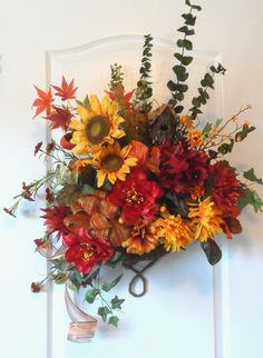 Natural Fall Thanksgiving Wreath Basket with birdhouse by HungUpOnWreaths, $99.00