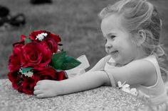 Flowers just for you Dear Sister, Cute Little Girls, Beautiful Children, Color Splash, Make Me Smile, Red Roses, Flower Girl Dresses, Just For You, Mindfulness