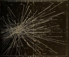Tracks of meteors deriving from a radiant point during a meteor shower. Astronomy for the use of schools and academies. 1882.
