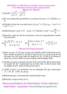 Examen 15, 1º Bachillerato, Matemática