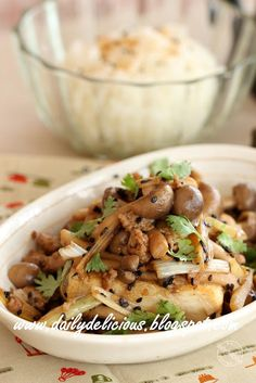 dailydelicious: Fried Tofu with Stir fry Shimeji mushroom
