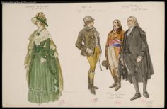 Miscellaneous costume illustrations by Charles Bétout, possibly for the 1923 film L'enfant Roi.