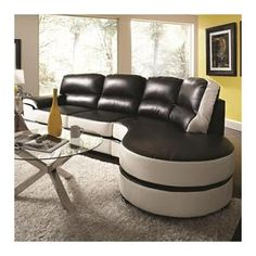 Reese One-Arm Sectional in Black and White | Nebraska Furniture Mart