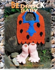 Bedrock Baby Bib and Booties Crochet Pattern by Sharon Santorum, Booties Crochet, Crochet Baby Bibs, Crochet Baby Blanket Beginner, Crochet Baby Clothes, Crochet For Boys, Cute Crochet, Crochet Crafts, Crochet Projects, Knit Crochet