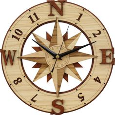 Compass Clock in wood - Wind Rose - Windrose (Silent movement)