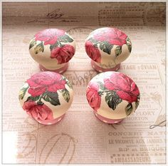 Wooden door knobs made with Cath Kidston royal by witchcorner, $30.00