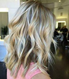 Bright blonde balayage for medium length hair by Alohi Lewis