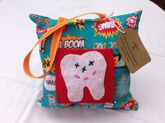 Tooth Fairy Pillow in Super Hero Says on Etsy, $10.00