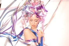 model with ribbons in her hair. #reno #stylist