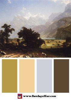 Natural color palette inspired by: Lake Lucerne, Art Print by Albert Bierstadt
