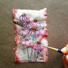 363 days of tea. Day 192. Coneflowers painted on a recycled teabag.