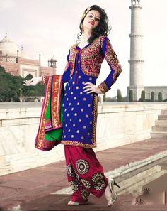 DE Divine Blue And Magenta Short Jacket Salwar Kameez