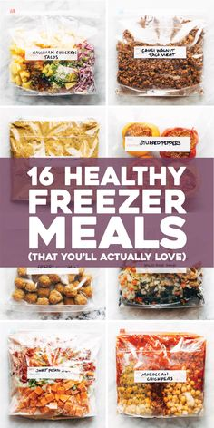 16 Healthy Freezer Meals ALL IN ONE PLACE! Plus a free printable document for freezer meal recipes made with REAL FOOD that are 100% delicious.