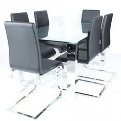 Charles-Jacobs-Dining-Table-Set-with-6-Black-Chairs-Chrome-Legs-and-Clear-Glass-Top-6-Seats-Premium-Quality-0
