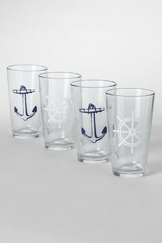 Nautical Pint Glasses (Set of from Lands' End- gonna need a dozen! Nautical Design, Nautical Home, Coastal Style, Coastal Living, Gadget Gifts, Shot Glasses, Lands End, Home Accents, Pint Glass