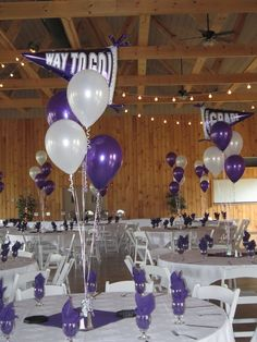 Graduation Balloons in Purple and White for an East Granby graduate at Maneeley's Lodge in South Windsor, CT.