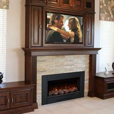 Modern Flames ZCR Series Electric Fireplace Insert with Trim – – Modern brick fireplace Tv Over Fireplace, Concrete Fireplace, Fireplace Inserts, Fireplace Mantle, Fireplace Surrounds, Fireplace Design, Fireplace Ideas, Wood Mantle, Fireplace Modern