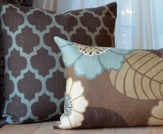 Brown and Blue Pillow, Brown Pillow, Aqua, Decorative Pillow, Throw Pillow, Modern Pillow, Floral Pillow, Thanksgiving Pillows, Fall Pillows on Etsy, $50.00