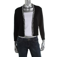 Calvin Klein Womens Embellished Open Front Shrug Sweater