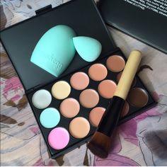 Concealer Palette + 1 Sponge + 1 Brush + 1 Cleaner Bundle 15 Colors Contours  Face Cream Makeup Concealer Palette + 1 Sponge + 1 Brush + 1 Cleaner Brand new in package. Makeup Blush