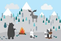 Make your child's bedroom an especially fun and imaginative space with our exclusive Kids Mountain Scene Wall Mural. This cute cartoon design features snowy mountain scenery with adorable woodland animals, all in a complementary colour scheme that can make any baby nursery or child's room look endearingly stylish. Not only does this image of the great outdoors allow a room to... Read more