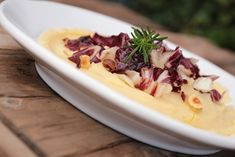 Add bright purple color to your winter table with radicchio. The elegant vegetable takes a simple dish of mashed potatoes to a whole new level.