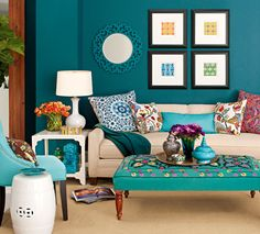 Adding bright colored pillows, flowers, furniture, art and accessories will accentuate your mom cave. More DIY inspiration and ideas at http://www.lender411.com/featured-article-diy-mom-cave-on-a-budget/